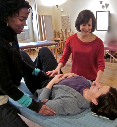 Jessica working with Art of Breathing teachers