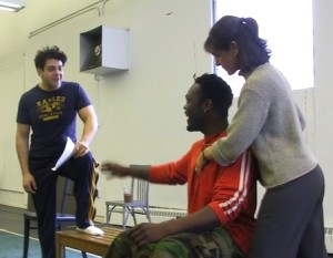 Jessica Wolf with students at the Yale School of Drama